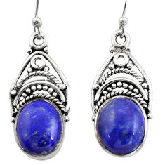8.05cts natural blue lapis lazuli 925 sterling silver dangle earrings r21685