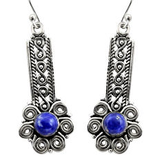 2.37cts natural blue lapis lazuli 925 sterling silver dangle earrings r21703