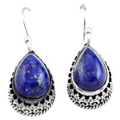 8.18cts natural blue lapis lazuli 925 sterling silver dangle earrings r21858