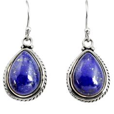 10.41cts natural blue lapis lazuli 925 sterling silver dangle earrings r25033