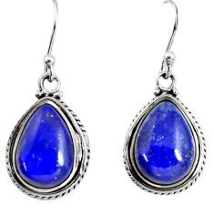 9.56cts natural blue lapis lazuli 925 sterling silver dangle earrings r25035
