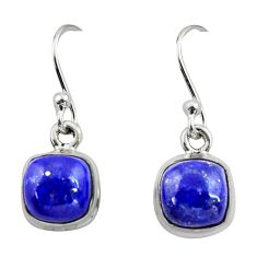 5.22cts natural blue lapis lazuli 925 sterling silver dangle earrings r26712