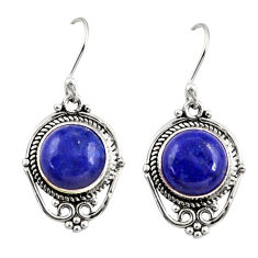 9.14cts natural blue lapis lazuli 925 sterling silver dangle earrings r30936
