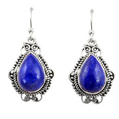 10.02cts natural blue lapis lazuli 925 sterling silver dangle earrings r30946