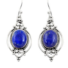 8.73cts natural blue lapis lazuli 925 sterling silver dangle earrings r30961