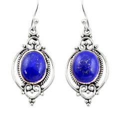 9.16cts natural blue lapis lazuli 925 sterling silver dangle earrings r30980