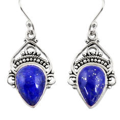 8.73cts natural blue lapis lazuli 925 sterling silver dangle earrings r30989