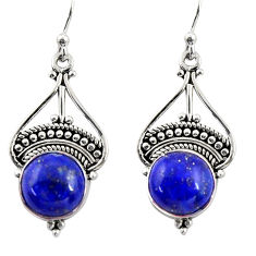 7.17cts natural blue lapis lazuli 925 sterling silver dangle earrings r31003