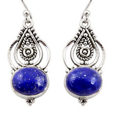 7.97cts natural blue lapis lazuli 925 sterling silver dangle earrings r31096