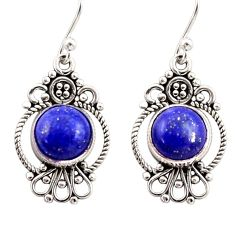 6.61cts natural blue lapis lazuli 925 sterling silver dangle earrings r31107