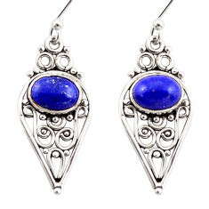 4.06cts natural blue lapis lazuli 925 sterling silver dangle earrings r31127