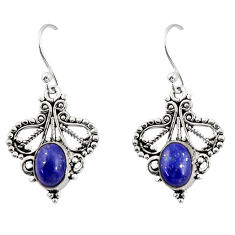 4.06cts natural blue lapis lazuli 925 sterling silver dangle earrings r31151
