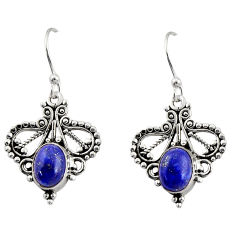 4.06cts natural blue lapis lazuli 925 sterling silver dangle earrings r31152