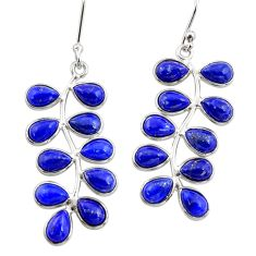 14.06cts natural blue lapis lazuli 925 sterling silver dangle earrings r33475
