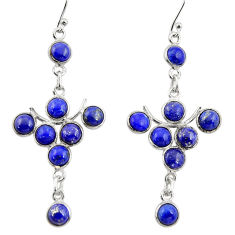 13.01cts natural blue lapis lazuli 925 sterling silver dangle earrings r33578