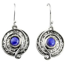 2.53cts natural blue lapis lazuli 925 sterling silver dangle earrings r35153