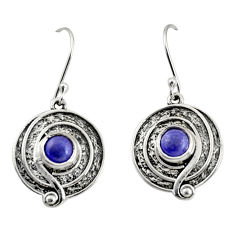 2.54cts natural blue lapis lazuli 925 sterling silver dangle earrings r35155