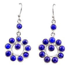 10.08cts natural blue lapis lazuli 925 sterling silver dangle earrings r35528