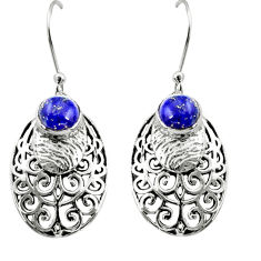 2.56cts natural blue lapis lazuli 925 sterling silver dangle earrings r36589