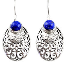 2.56cts natural blue lapis lazuli 925 sterling silver dangle earrings r36879