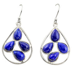 13.13cts natural blue lapis lazuli 925 sterling silver dangle earrings r37375