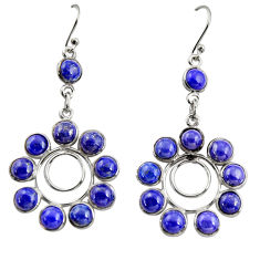 15.31cts natural blue lapis lazuli 925 sterling silver dangle earrings r37492