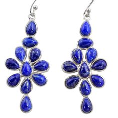 14.59cts natural blue lapis lazuli 925 sterling silver dangle earrings r37509