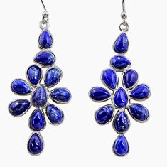 14.59cts natural blue lapis lazuli 925 sterling silver dangle earrings r37511