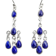 10.45cts natural blue lapis lazuli 925 sterling silver dangle earrings r37575