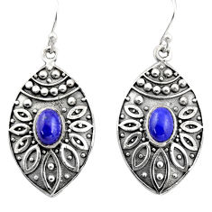 3.32cts natural blue lapis lazuli 925 sterling silver dangle earrings r38049