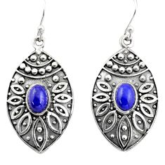 3.32cts natural blue lapis lazuli 925 sterling silver dangle earrings r38053