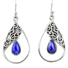 4.92cts natural blue lapis lazuli 925 sterling silver dangle earrings r38129