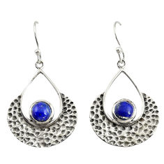 1.96cts natural blue lapis lazuli 925 sterling silver dangle earrings r39085