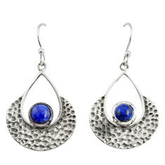 1.96cts natural blue lapis lazuli 925 sterling silver dangle earrings r39086