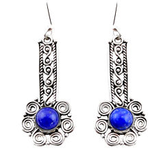 2.62cts natural blue lapis lazuli 925 sterling silver dangle earrings r41162