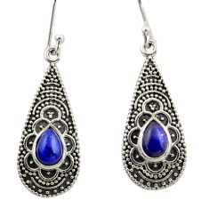 3.92cts natural blue lapis lazuli 925 sterling silver dangle earrings r42067
