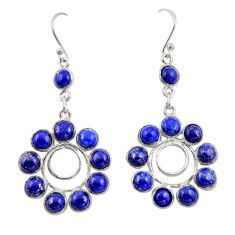 14.27cts natural blue lapis lazuli 925 sterling silver dangle earrings r42283