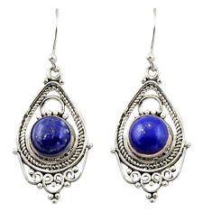 7.29cts natural blue lapis lazuli 925 sterling silver dangle earrings r42301