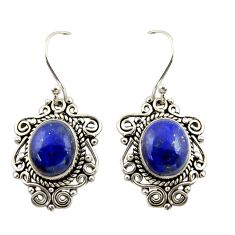 8.44cts natural blue lapis lazuli 925 sterling silver dangle earrings r42343