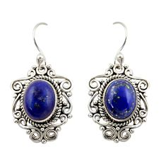 8.44cts natural blue lapis lazuli 925 sterling silver dangle earrings r42344