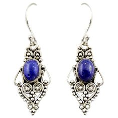4.40cts natural blue lapis lazuli 925 sterling silver dangle earrings r42410