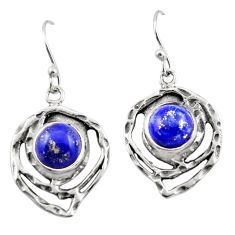 6.53cts natural blue lapis lazuli 925 sterling silver dangle earrings r42864