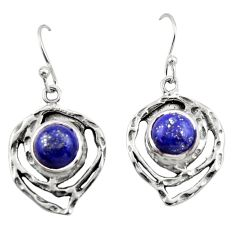6.55cts natural blue lapis lazuli 925 sterling silver dangle earrings r42865