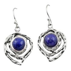 6.35cts natural blue lapis lazuli 925 sterling silver dangle earrings r42866