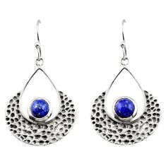 1.94cts natural blue lapis lazuli 925 sterling silver dangle earrings r42885