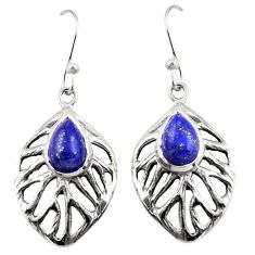 4.81cts natural blue lapis lazuli 925 sterling silver dangle earrings r42886