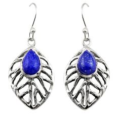 4.54cts natural blue lapis lazuli 925 sterling silver dangle earrings r42887