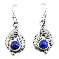 2.03cts natural blue lapis lazuli 925 sterling silver dangle earrings r42905