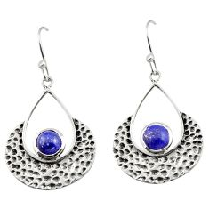 1.94cts natural blue lapis lazuli 925 sterling silver dangle earrings r42925