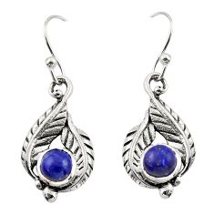 1.86cts natural blue lapis lazuli 925 sterling silver dangle earrings r42926